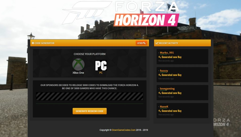 Forza Horizon 4 Redeem Code Download - DownGameCodes