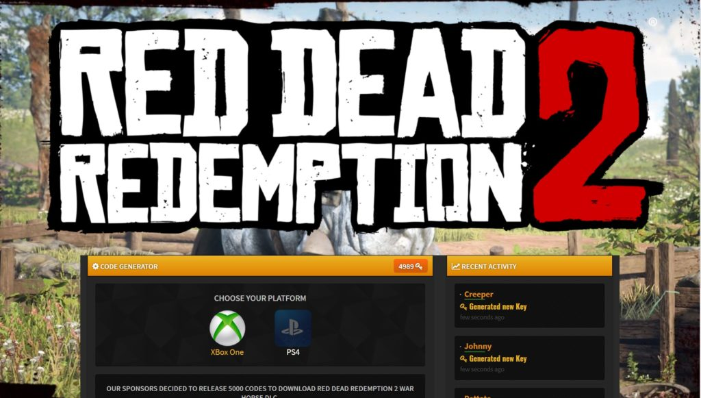 Red Dead Redemption 2 War Horse DLC Code