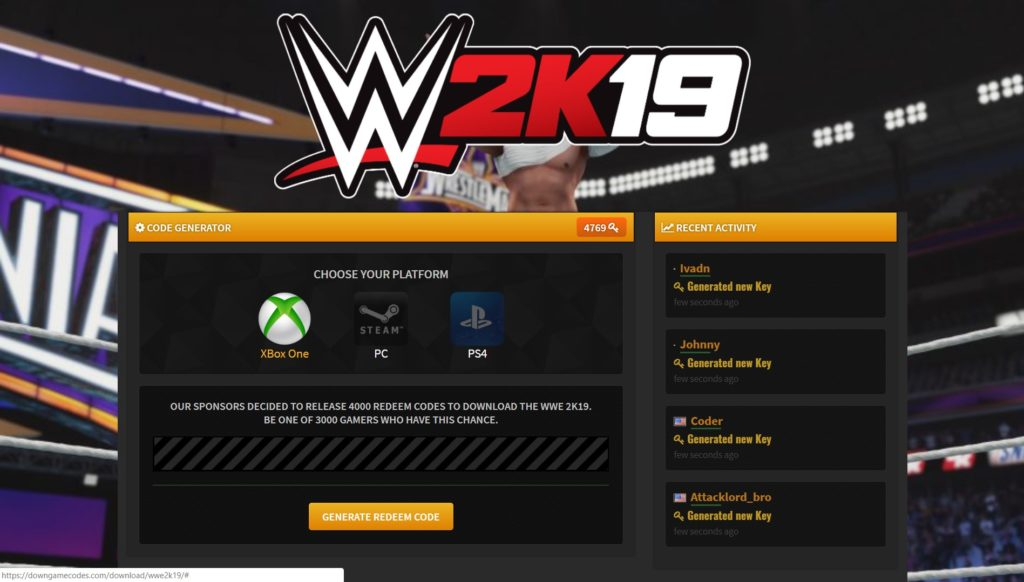 WWE 2K19 Redeem Code of Xbox ONE PS4 PC - DownGameCodes