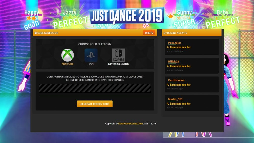 Just Dance 2019 Redeem Code